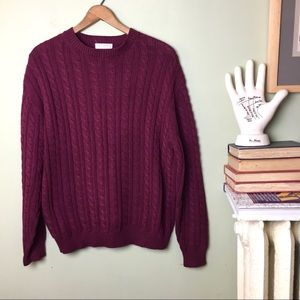 Brooks Bros. Cranberry Cable Knit Cotton Sweater
